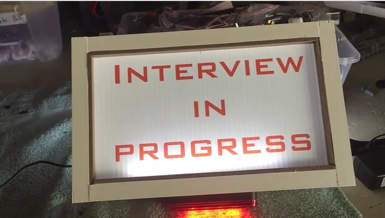 Interview in Progress lighted sign