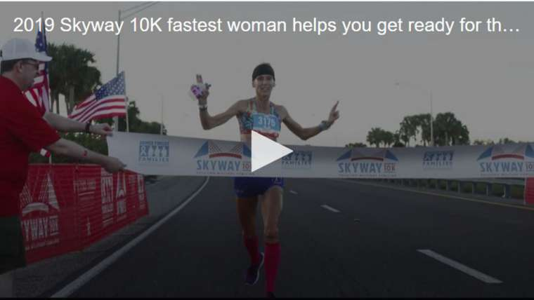 Precise Digital's Terri Rejimbal was the first woman to cross the Skyway 10K finish line