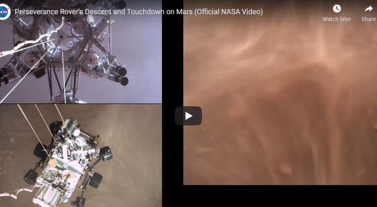 NASA's Mars Perseverance Rover Landing Video