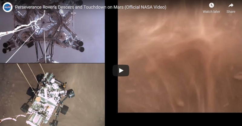 NASA's Mars Perseverance Rover Landing Video